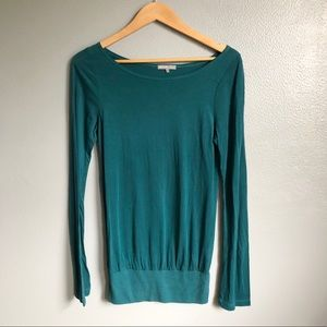 James Perse Teal Ribbed Long Sleeve Top